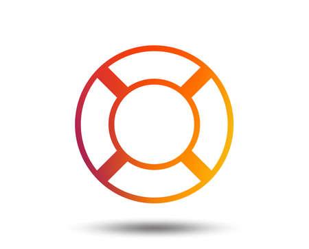 Lifebuoy 표시 아이콘입니다. 생명 구원의 상징. 흐리게 그라디언트 디자인 요소입니다. 생생한 그래픽 플랫 아이콘입니다. 벡터