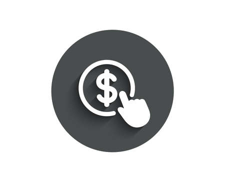 Hand Click simple icon.   Circle flat button with shadow. Vector illustration.