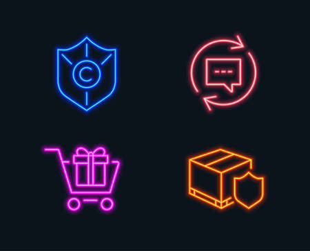 Neon lights  Set of Update comments, Shopping cart and  copyright protection icons. Glowing graphic designs. Vector illustration. Illustration