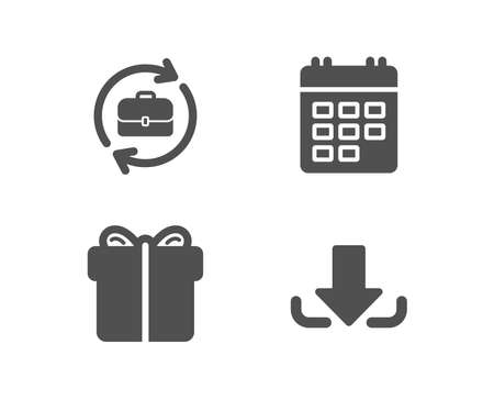 Set of Human resources, Calendar and Gift box icons. Download sign. Job recruitment, Event reminder, Present package. Load file.  Quality design elements. Classic style. Vector