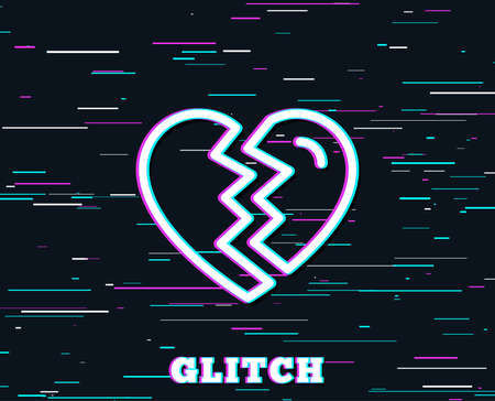 Glitch effect. Break up Love line icon. Divorce sign. Valentines day symbol. Background with colored lines. Vector Imagens - 96304302