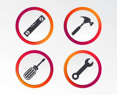 Screwdriver and wrench key tool icons. Bubble level and hammer sign symbols. Infographic design buttons. Circle templates. Vector