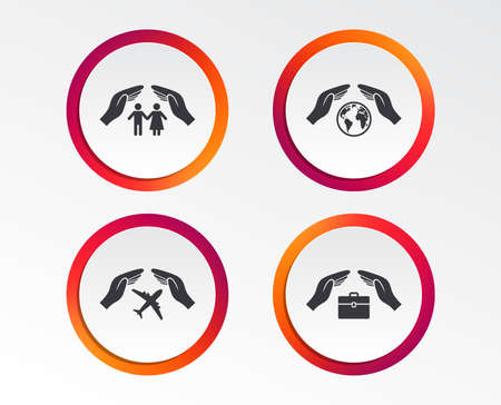 Hands insurance icons. Human life insurance symbols. Travel flight baggage symbol. World globe sign. Infographic design buttons. Circle templates. Vector Banque d'images - 96622495