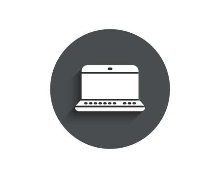 Laptop computer icon. Notebook sign. Portable personal computer symbol. Circle flat button with shadow. Vector