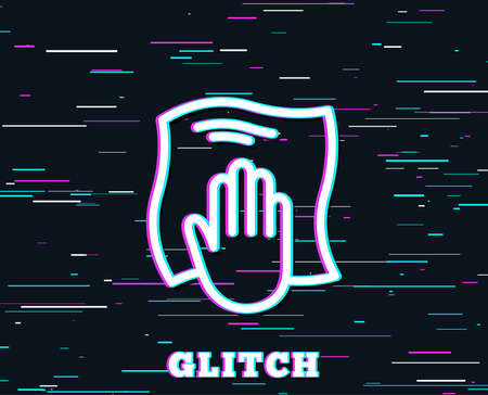 Glitch effect. Cleaning cloth line icon. Wipe with a rag symbol. Housekeeping equipment sign. Background with colored lines. Vector