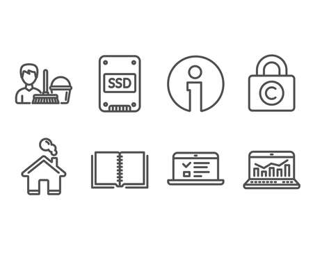 Set of Book, Ssd and Ð¡opyright locker icons. Web lectures, Cleaning service and Web analytics signs. E-learning course, Solid-state drive, Private information. Vector Illustration