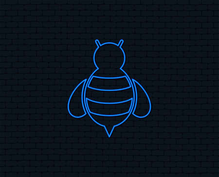 Neon light Bee sign icon. Honeybee or apis with wings symbol.
