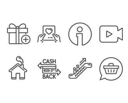 Set of Video camera, Escalator and Cashback card icons. Love mail, Add gift and Shopping cart signs. Movie or cinema, Elevator, Money payment. Valentine letter, Present box, Dreaming of gift. Vector Illustration