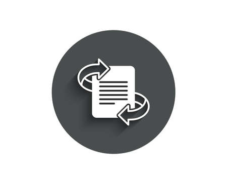 Marketing simple icon. Page with arrows sign. Article symbol. Circle flat button with shadow. Vector