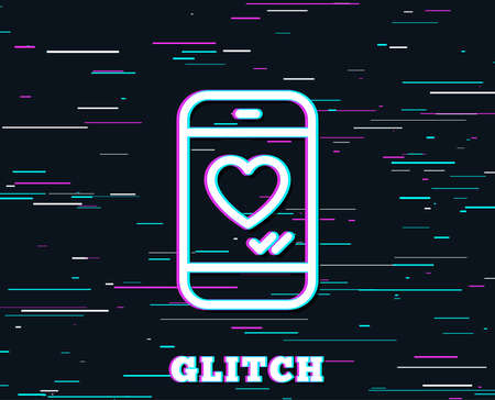 Glitch effect. Phone with heart line icon. Social media like sign. Smartphone Love message symbol. Background with colored lines. Vector