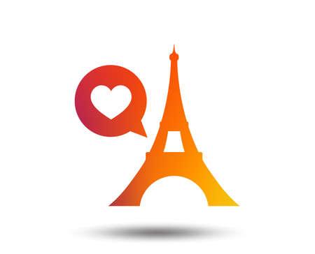 Eiffel tower icon. Paris symbol. Speech bubble with heart sign. Blurred gradient design element. Vivid graphic flat icon. Vector