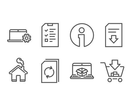 インタビュー、オンライン配信、ノートブックサービスのアイコンのセット。ドキュメント、ダウンロードファイル、ショッピングサインを更新し