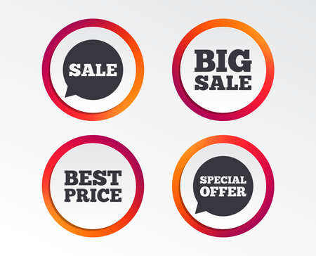 Sale icons. Special offer speech bubbles symbols. Big sale and best price shopping signs. Infographic design buttons. Circle templates. Vector