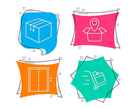Set of Parcel, Package location and Lift icons. Push cart sign. Shipping box, Delivery tracking, Elevator. Express delivery.  Flat geometric colored tags. Vivid banners. Trendy graphic design. Vector Illustration