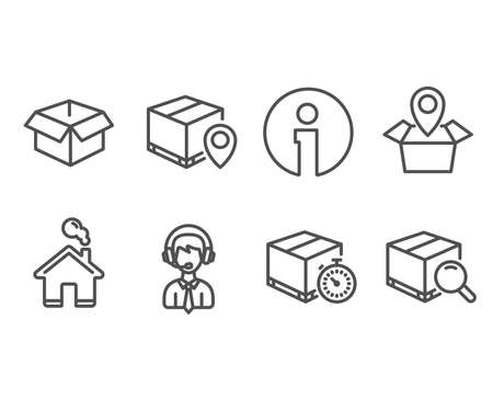 Set of Opened box, Shipping support and Parcel tracking icons. Delivery timer, Package location and Search package signs. Shipping parcel, Delivery manager, Express logistics. Tracking service