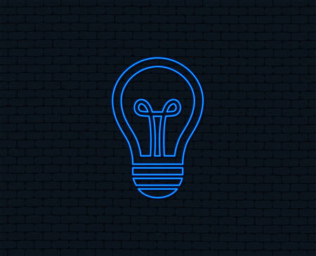 Neon light. Light lamp sign icon. Idea symbol. Glowing graphic design. Brick wall. Vector