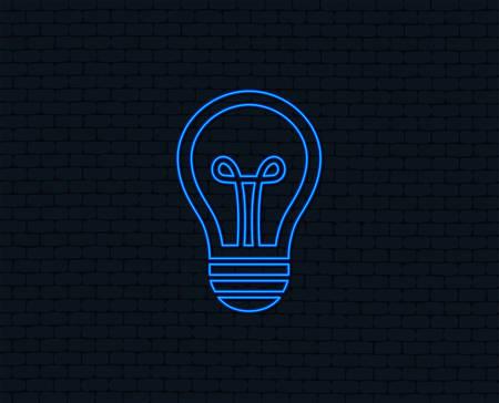 Neon light. Light lamp sign icon. Idea symbol. Glowing graphic design. Brick wall. Vector
