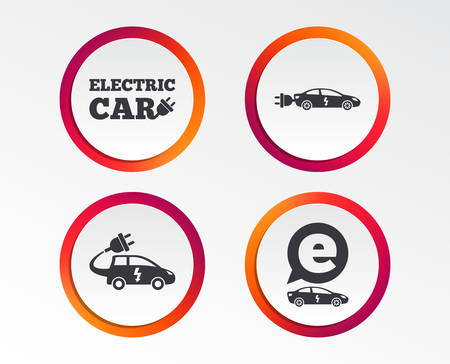 Electric car icons. Sedan and Hatchback transport symbols. Eco fuel vehicles signs. Infographic design buttons. Circle templates. Vector 일러스트