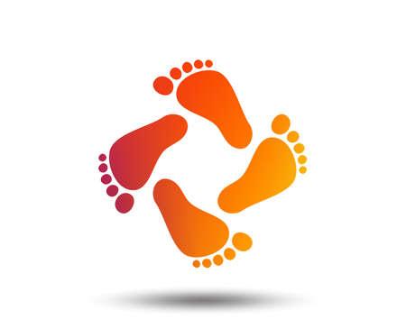 赤ちゃんの足跡アイコン。子供の裸足のステップ。幼児の足のシンボル。ぼやけたグラデーションのデザイン要素。鮮やかなグラフィックフラット