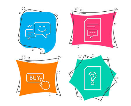Set of Buy button, Happy emotion and Comments icons. Unknown file sign. Online shopping, Web chat, Document with speech bubble. Doc with question mark.  Flat geometric colored tags. Vivid banners