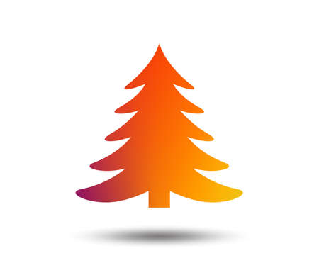 Christmas tree sign icon. Holidays button. Blurred gradient design element. Vivid graphic flat icon. Vector