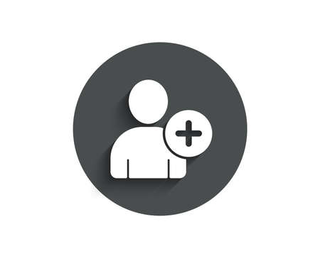 Add User simple icon. Profile Avatar sign. Person silhouette symbol. Circle flat button with shadow. Vector