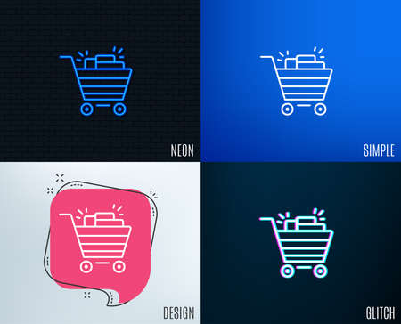 Glitch, Neon effect of Shopping cart line icon. Illustration