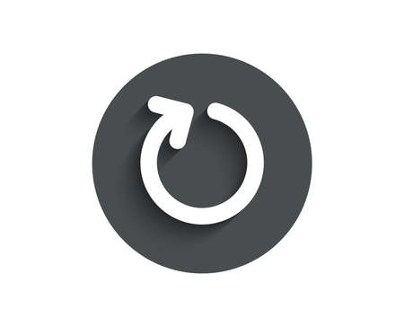 Loop arrow simple icon. Refresh Arrowhead symbol. Navigation pointer sign. Circle flat button with shadow.