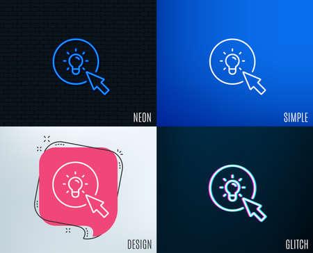 Glitch, effetto neon. Icona linea lampada idea. Segno del cursore del mouse. Simbolo della lampadina. Disegni geometrici piatti alla moda.