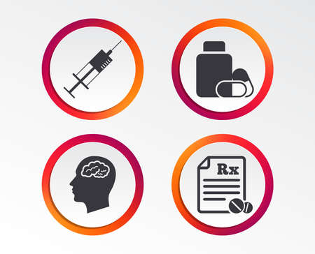 Medicine icons. Medical tablets bottle, head with brain, prescription Rx and syringe signs. Pharmacy or medicine symbol. Infographic design buttons.
