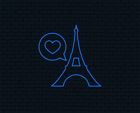 Neon light of Eiffel tower icon. Speech bubble with heart sign.