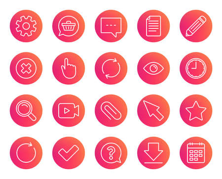 Document, Time and Calendar line icons. Question, Chat and Pencil signs. Cogwheel, Download and Attach clip symbols. Mouse cursor, Magnifier and Shopping cart. Trendy gradient circle buttons. Illustration