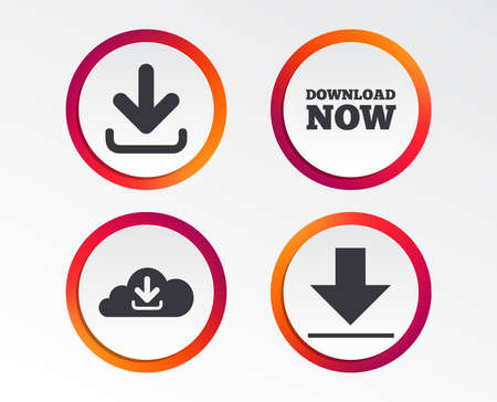 Download now icon. Upload from cloud symbols. Receive data from a remote storage signs. Infographic design buttons.