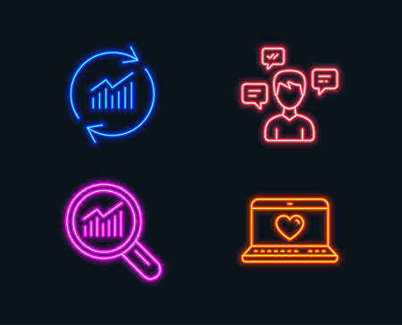Neon lights. Set of Conversation messages, Data analysis and Update data icons. Web love sign. Communication, Magnifying glass, Sales statistics. Social network. Glowing graphic designs.