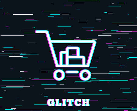 Glitch effect of Shopping cart line icon.