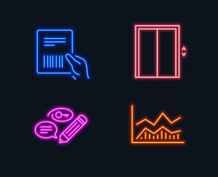 Neon lights of Set of Parcel invoice, Keywords and Lift icons, Trade infochart sign. Ilustração