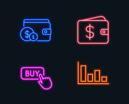 Neon lights of Set of Buying accessory, Buy button and Dollar wallet icons, Histogram sign.