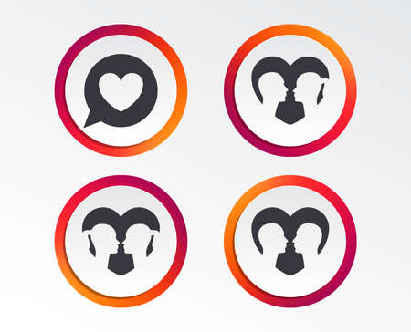 Couple love icon. Lesbian and Gay lovers signs. Romantic homosexual relationships. Speech bubble with heart symbol. Infographic design buttons. Illustration
