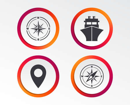 Windrose navigation compass icons. Shipping delivery sign. Location map pointer symbol. Infographic design buttons.