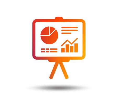 Presentation billboard sign icon. Scheme and Diagram symbol. Blurred gradient design element. Vivid graphic flat icon. Illustration