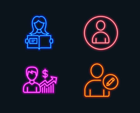 Neon lights. Set of Business growth, Avatar and Woman read icons. Edit user sign. Earnings results, User profile, Girl studying. Profile data.  Glowing graphic designs. Vector