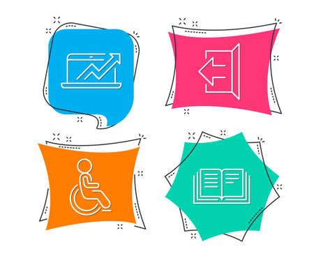 Set of Sales diagram, Sign out and Disabled icons. Education sign. Sale growth chart, Logout, Handicapped wheelchair. Instruction book. Flat geometric colored tags. Vivid banners.