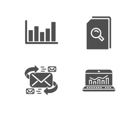 Set of E-mail, Search files and Column chart icons. Web analytics sign. Communication by letters, Magnifying glass, Financial graph. Statistics.  Quality design elements. Classic style. Vector Illustration
