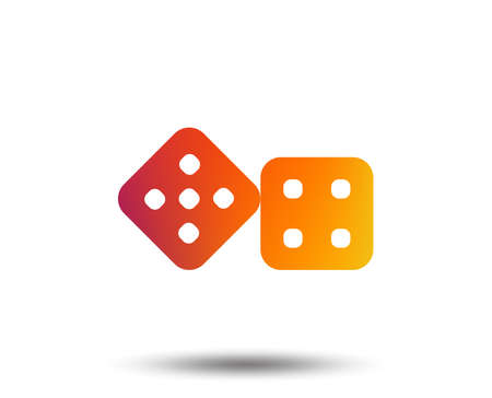 Dices sign icon. Casino game symbol. Blurred gradient design element. Vivid graphic flat icon. Vector