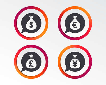 Money bag icons. Dollar, Euro, Pound and Yen speech bubbles symbols. USD, EUR, GBP and JPY currency signs. Infographic design buttons.