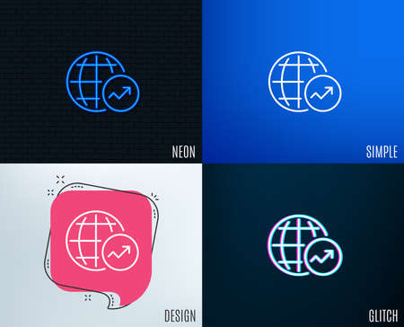Glitch, Neon effect. World Statistics line icon. Report chart or Sales growth sign. Data Analysis graph symbol. Trendy flat geometric designs. Vector Ilustração