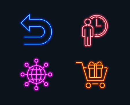 Neon lights. Set of Undo, Waiting and International globe icons. Shopping cart sign. Left turn, Service time, World networking. Gift box.  Glowing graphic designs. Vector Иллюстрация