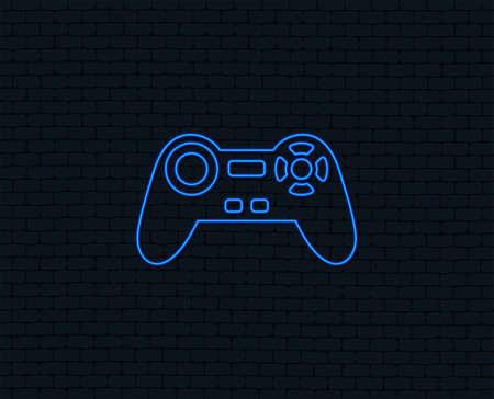 Neon light. Joystick sign icon. Video game symbol. Glowing graphic design.