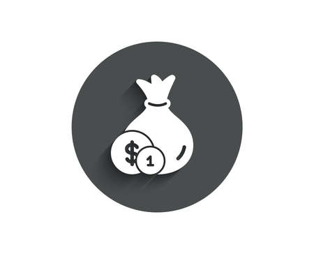 Money bag with Coins simple icon. Cash Banking currency sign. Dollar or USD symbol. Circle flat button with shadow. Vector