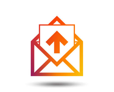 Mail icon. Envelope symbol. Outgoing message sign. Mail navigation button. Blurred gradient design element. Vivid graphic flat icon. Vector Illustration